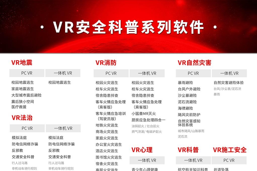 VR安全科普教育清单